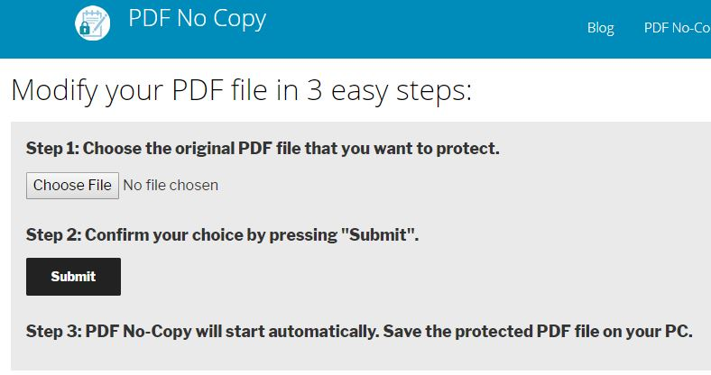 pdf no copy solution